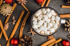 Sweet hot chocolate in mug. Christmas drink with marshmallow. Selective focus. Shallow depth of field stock image