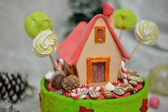 The sweet house of the fairy tale Hansel and Gretel cake royalty free stock image
