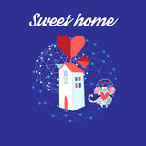 Sweet house with a loving cat Royalty Free Stock Image