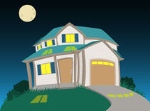Sweet house at night Royalty Free Stock Image