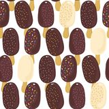 Sweet ice cream dark and white chocolate regular rows summer seamless pattern on white Vector Illustration