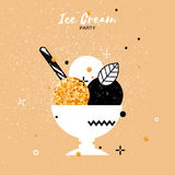 Sweet Ice Cream. Gold Glitter Dessert party time. Royalty Free Stock Image