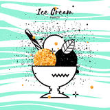 Sweet Ice Cream. Gold Glitter Dessert party time. Stock Photo