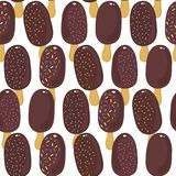 Sweet ice cream regular rows summer seamless pattern on white background Stock Illustration
