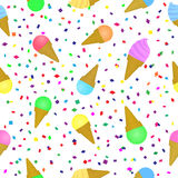 Sweet ice-cream seamless pattern. Holiday festival summer background with cold dessert and multicolored confetti. Royalty Free Stock Image