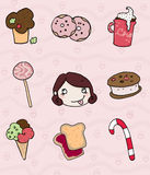 Sweet icons and greedy girl. A greedy funny girl and sweet icons. digital colors Royalty Free Stock Photography