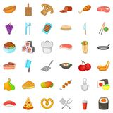 Sweet icons set, cartoon style Stock Images