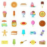 Sweet icons set, cartoon style Royalty Free Stock Photography