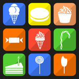 Sweet icons. Set of colorful icons on the theme of sugary foods Stock Photos