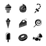 Sweet icons set with - cupcake, donut, cake, ice Royalty Free Stock Image