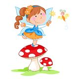 Happy little flower fairy dancing on the red mushroom and lovely little butterfly - white background vector illustration