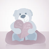 A sweet illustration for Valentine's Day with teddy bear and paper love letter heart,  Stock Image