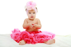 Sweet infant wearing a pink tutu Royalty Free Stock Photos