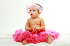 Sweet infant wearing a pink tutu Royalty Free Stock Photo