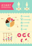 Sweet infographics. Pie diagram and sugary graphics. Vector illustration royalty free illustration
