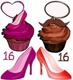 SWEET 16 isolated stuff. Strawberry and chocolate sweet 15 cupcakes with blank cake topper for boys and girls. Matching numbers and colorful shoes illustrations Royalty Free Stock Photo