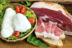Sweet Italian ham, buffalo mozzarella on salad, tomatoes, homema Royalty Free Stock Photos