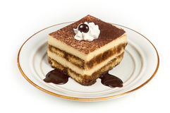 Sweet Italian Layered Tiramisu on Dessert Plate Stock Photos