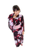 Sweet japanese girl. With traditional clothes, full length portrait isolated on white Royalty Free Stock Photography