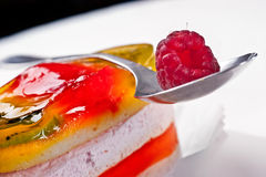 Sweet jelly cake with raspberry Royalty Free Stock Image