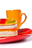 Sweet jelly cake with tea mug Stock Photos