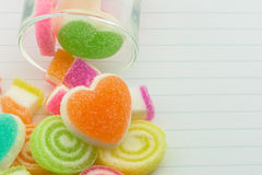 Sweet jelly candies and jelly hearts in sweet color. Stock Photography