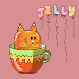 Sweet jelly dessert. Funny illustration. Jelly in the shape of a kitten. Sweet dessert in a cup. Text in form balloons. All elements on separate layers, it is Stock Photography