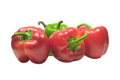 Sweet juicy peppers isolated on white. Sweet ripe juicy peppers isolated on white Royalty Free Stock Photo