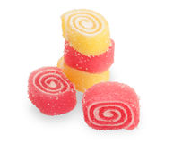 Sweet  jujubes, red  and yellow twisted Royalty Free Stock Photos