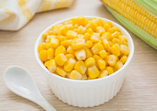 Sweet kernel corn in bowl Stock Photos