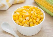 Sweet kernel corn in bowl. Sweet kernel corn in white bowl stock photos