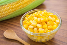 Sweet kernel corn in glass bowl Royalty Free Stock Photo