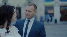 Sweet kiss beautiful wedding couple stock video footage