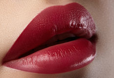 Free Sweet Kiss. Close-up Of Woman S Lips With Fashion Red Make-up. Beautiful Female Mouth, Full Lips With Perfect Makeup Royalty Free Stock Photography - 69540387
