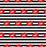 Lips pattern. Vector seamless pattern with woman`s red and pink kissing flat lips isolated on white Stock Photography