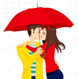 Sweet Kiss Under Umbrella Royalty Free Stock Photo