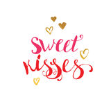 Sweet Kisses quote lettering Stock Photography