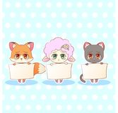 Sweet Kitty Little cute kawaii anime cartoon sad sorry cry tear fox, cat, kitten, lamb girl in dress character holding a sign with. Message banner your text Royalty Free Stock Image