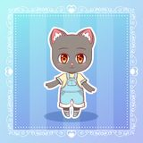 Sweet Kitty Little happy smile cat cute kawaii anime cartoon kitten boy in overalls Children character Stock Images