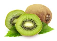 Sweet kiwi with leaves Stock Images