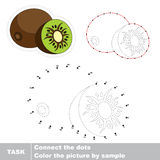 Sweet Kiwifruit. Vector numbers game. Sweet Kiwifruit in vector to be traced by numbers. Easy educational kid game. Simple level of difficulty. Education and Royalty Free Stock Images