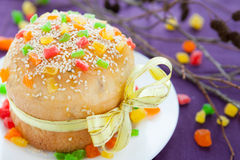 Sweet kulich for Easter, Easter cake Stock Images