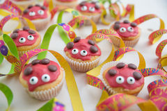 Sweet Ladybug muffins Stock Photo