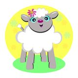 Sweet Lamb with a Flower Stock Photos