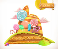 Sweet land. Cake, cupcake, candy. Vector icon royalty free illustration