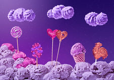 Sweet landscape of ice cream and candy Stock Photography