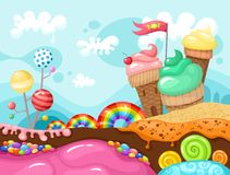 Sweet landscape. Illustration of a sweet colorful  landscape Royalty Free Stock Photos