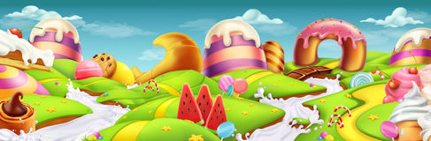 Sweet Landscape Panorama. Vector Background Stock Photos