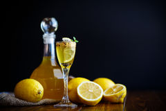 Sweet lemon alcoholic brandy in the decanter Stock Photo
