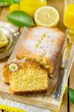 Sweet lemon cake with powdered sugar. Sweet lemon sponge cake with powdered sugar stock images